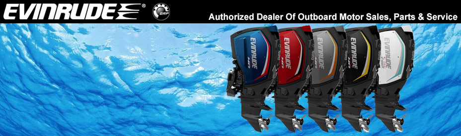 "Evinrude banner showcasing 5 engines side by side and saying ""Authorized Dealer of Outboard Motor Sales, Parts & Service."